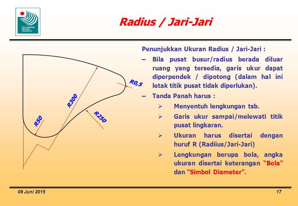 09 Juni 2015 17 Radius / Jari-Jari Penunjukkan Ukuran Radius / Jari-Jari : –Bila pusat busur/radius berada diluar ruang yang tersedia, garis ukur dapa