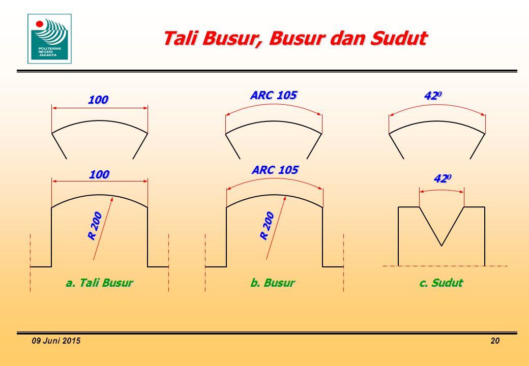 09 Juni 2015 20 Tali Busur, Busur dan Sudut 100 ARC 105 42 0 100 ARC 105 a. Tali Busur b. Busur c. Sudut R 200