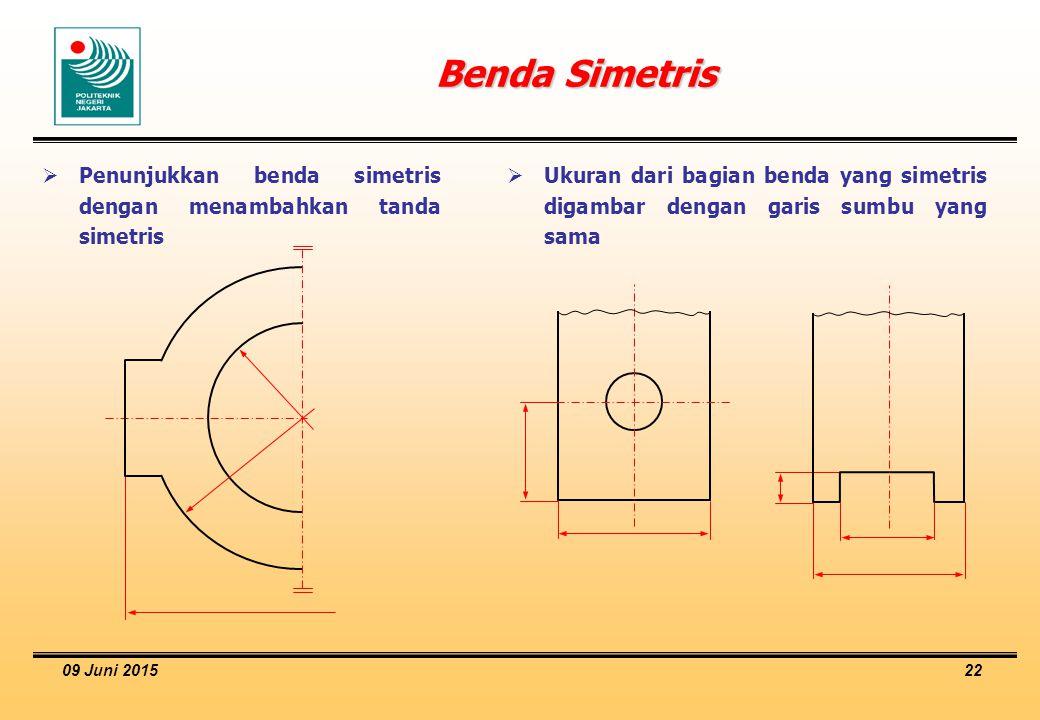 09 Juni 2015 22 Benda Simetris  Penunjukkan benda simetris dengan menambahkan tanda simetris  Ukuran dari bagian benda yang simetris digambar dengan