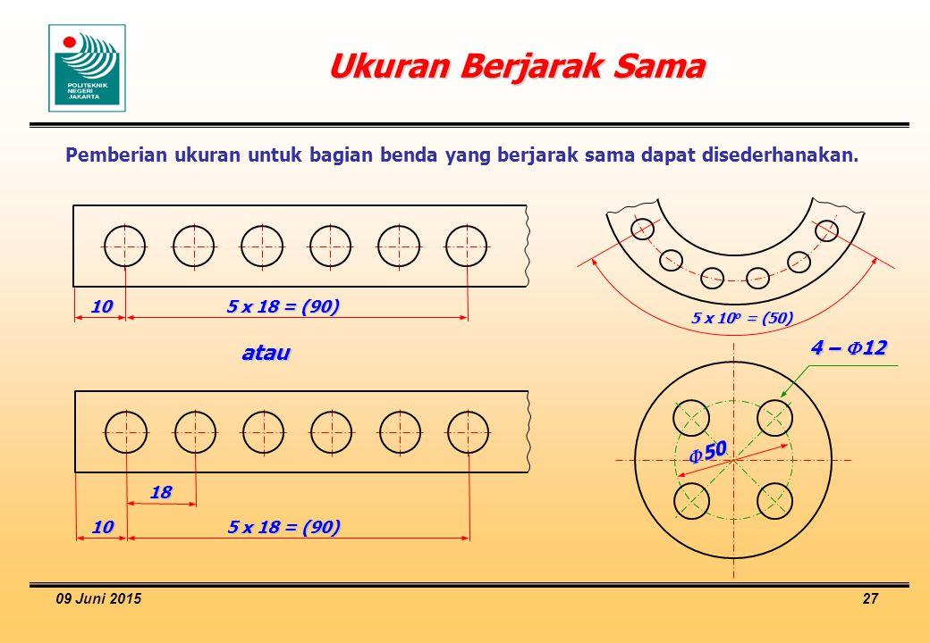 09 Juni 2015 27 Ukuran Berjarak Sama Pemberian ukuran untuk bagian benda yang berjarak sama dapat disederhanakan. 10 5 x 18 = (90) 10 18 atau 5 x 10 o