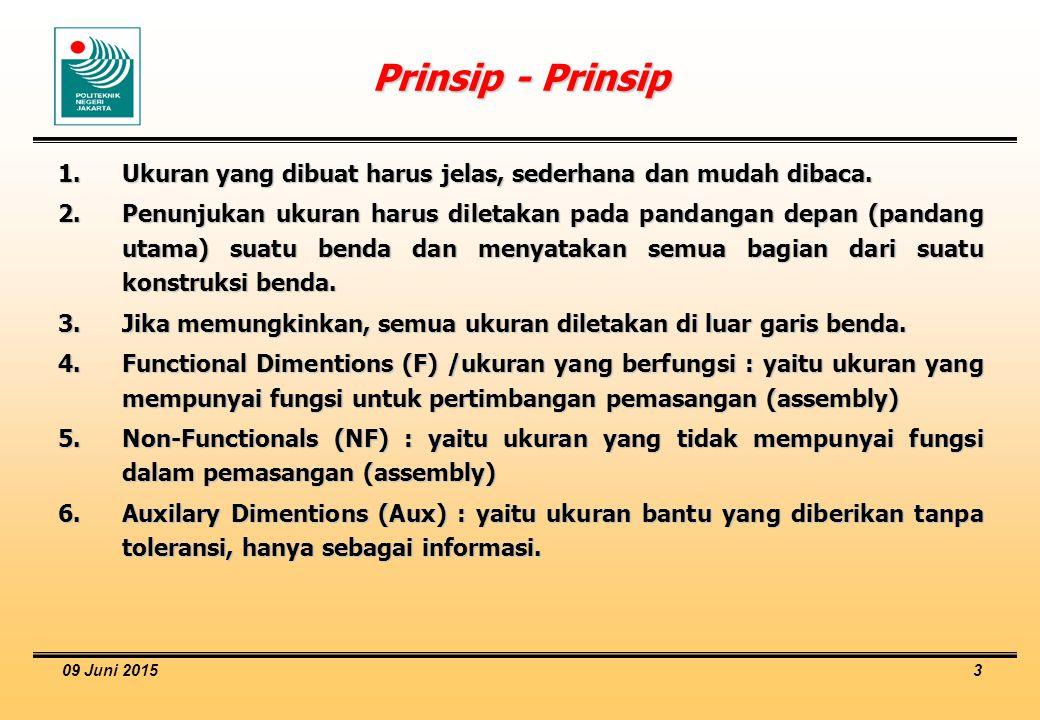 09 Juni 2015 3 Prinsip - Prinsip 1.Ukuran yang dibuat harus jelas, sederhana dan mudah dibaca. 2.Penunjukan ukuran harus diletakan pada pandangan depa