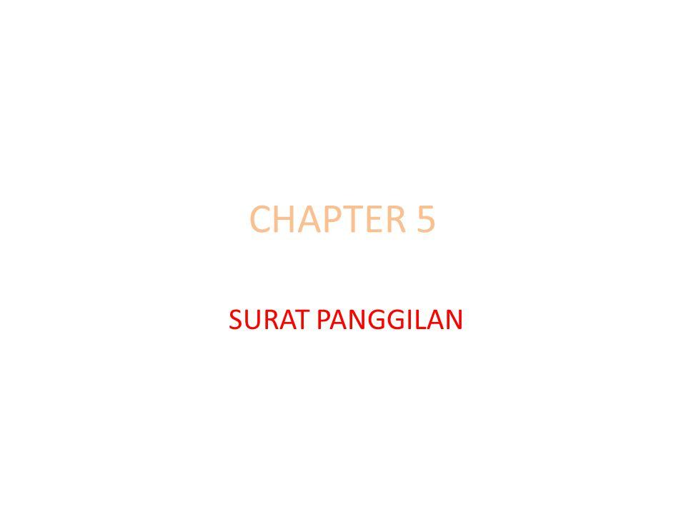 CHAPTER 5 SURAT PANGGILAN