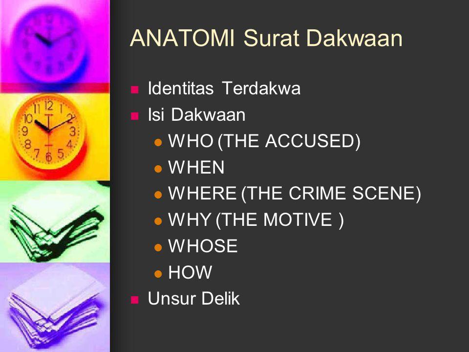 ANATOMI Surat Dakwaan Identitas Terdakwa Isi Dakwaan WHO (THE ACCUSED) WHEN WHERE (THE CRIME SCENE) WHY (THE MOTIVE ) WHOSE HOW Unsur Delik