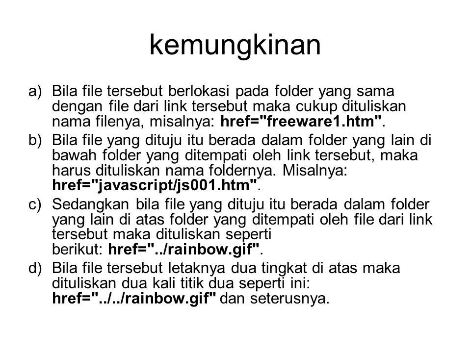 kemungkinan a)Bila file tersebut berlokasi pada folder yang sama dengan file dari link tersebut maka cukup dituliskan nama filenya, misalnya: href= freeware1.htm .