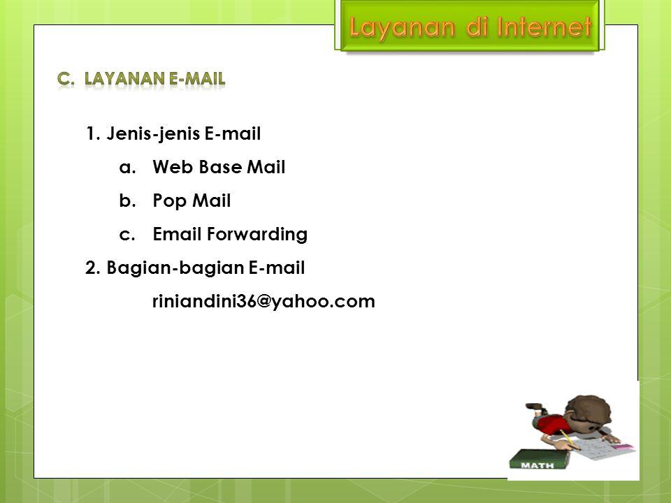 1. Jenis-jenis E-mail a.Web Base Mail b.Pop Mail c.Email Forwarding 2. Bagian-bagian E-mail riniandini36@yahoo.com