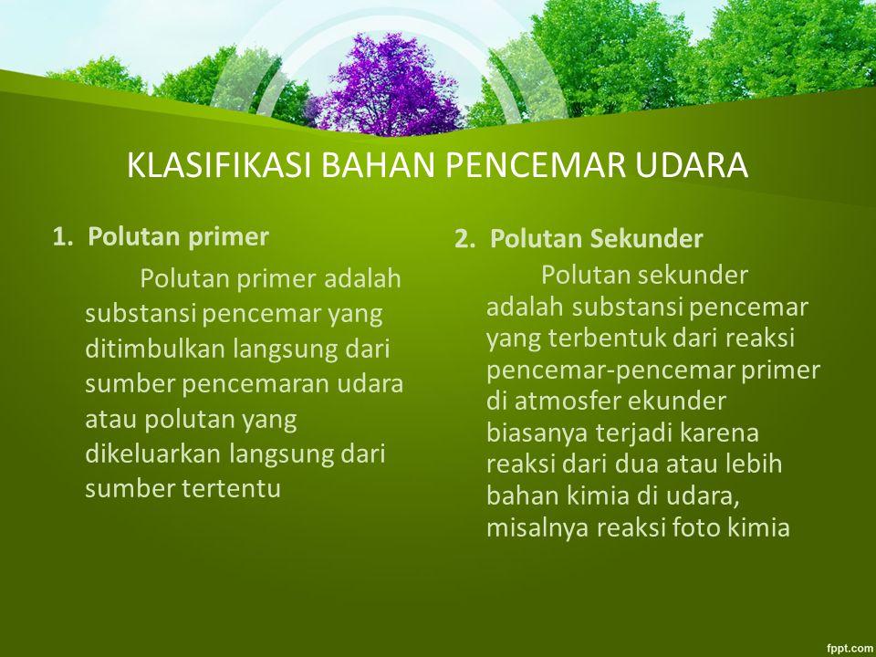 KLASIFIKASI BAHAN PENCEMAR UDARA 1.