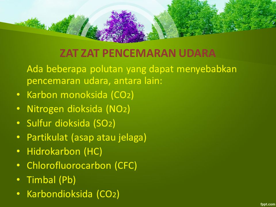 ZAT ZAT PENCEMARAN UDARA Ada beberapa polutan yang dapat menyebabkan pencemaran udara, antara lain: Karbon monoksida (CO 2 ) Nitrogen dioksida (NO 2 ) Sulfur dioksida (SO 2 ) Partikulat (asap atau jelaga) Hidrokarbon (HC) Chlorofluorocarbon (CFC) Timbal (Pb) Karbondioksida (CO 2 )