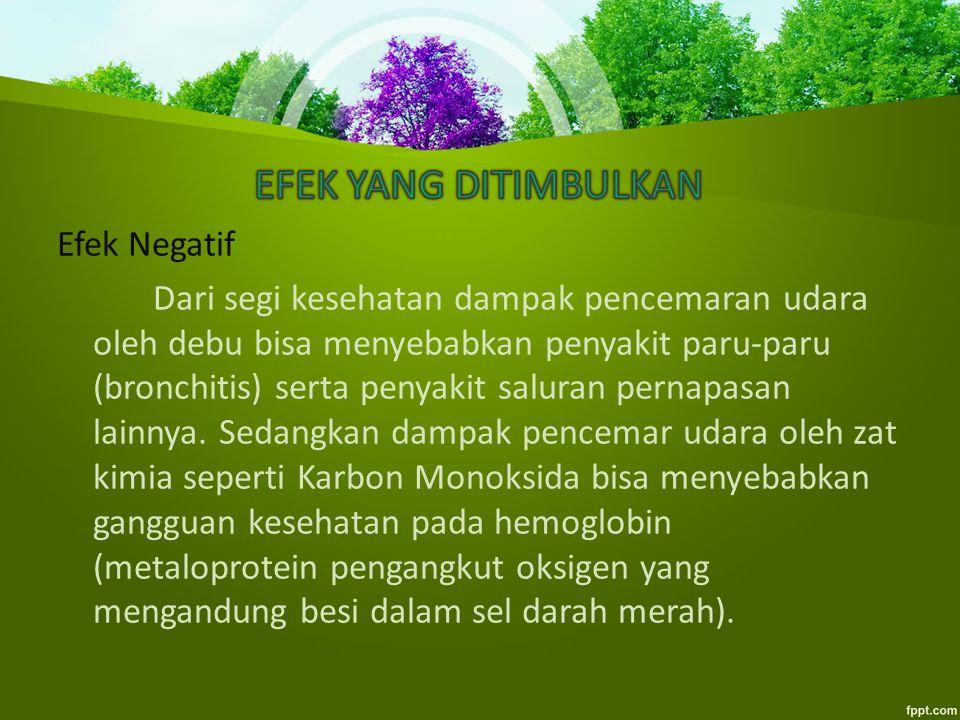 Efek Positif Ternyata selain menimbulkan dampak yang negatif terdapat pula efek positif dari terjadinya pencemaran udara.