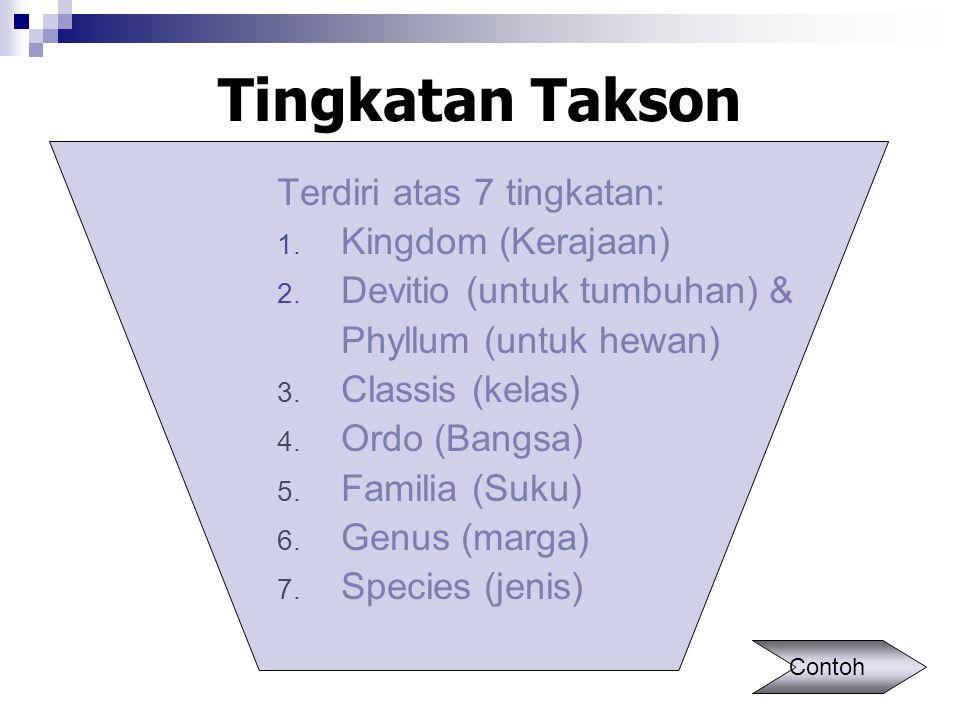 Tingkatan Takson Terdiri atas 7 tingkatan: 1. Kingdom (Kerajaan) 2. Devitio (untuk tumbuhan) & Phyllum (untuk hewan) 3. Classis (kelas) 4. Ordo (Bangs