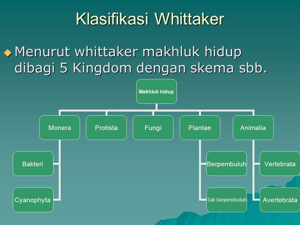 Klasifikasi Whittaker  Menurut whittaker makhluk hidup dibagi 5 Kingdom dengan skema sbb. Makhluk hidup Monera Bakteri Cyanophyta ProtistaFungiPlanta