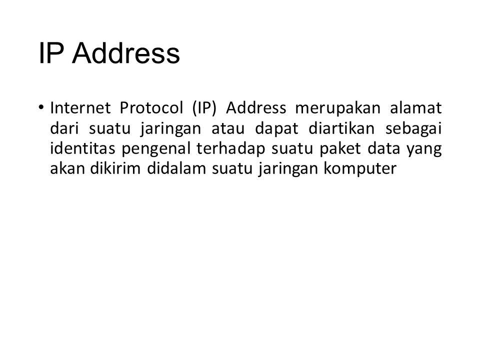 IP Address Internet Protocol (IP) Address merupakan alamat dari suatu jaringan atau dapat diartikan sebagai identitas pengenal terhadap suatu paket data yang akan dikirim didalam suatu jaringan komputer