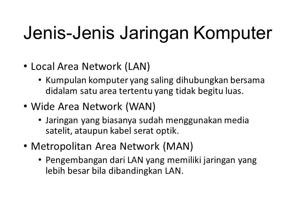 Jenis-Jenis Jaringan Komputer Local Area Network (LAN) Kumpulan komputer yang saling dihubungkan bersama didalam satu area tertentu yang tidak begitu luas.