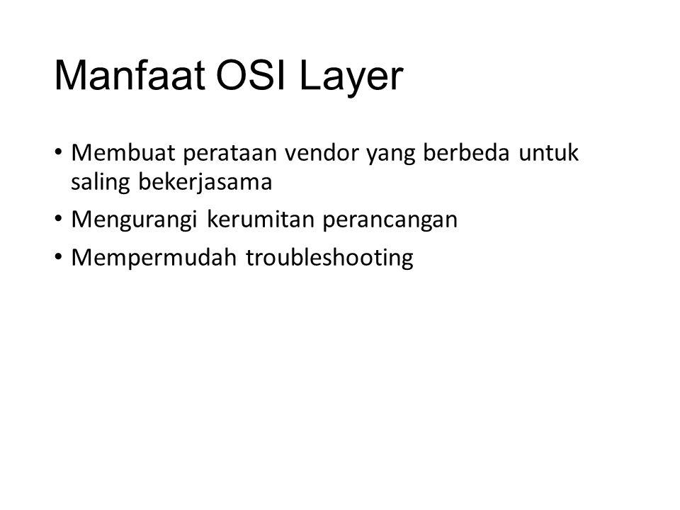 Manfaat OSI Layer Membuat perataan vendor yang berbeda untuk saling bekerjasama Mengurangi kerumitan perancangan Mempermudah troubleshooting