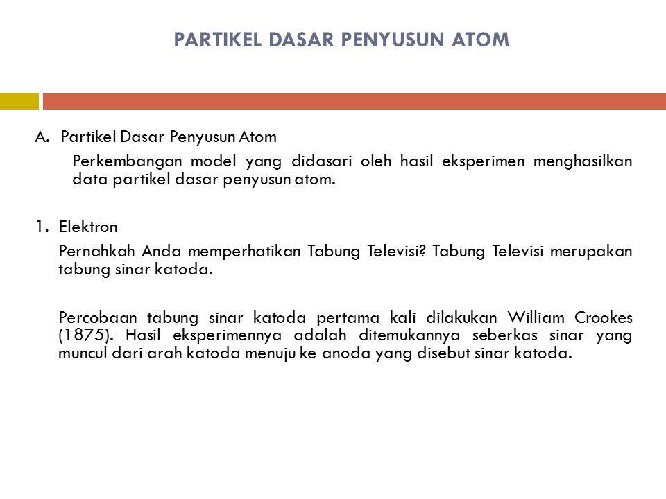 PARTIKEL DASAR PENYUSUN ATOM A. Partikel Dasar Penyusun Atom Perkembangan model yang didasari oleh hasil eksperimen menghasilkan data partikel dasar p