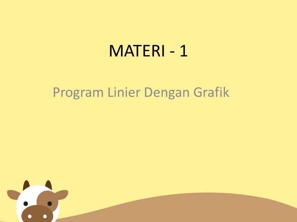 Kejadian khusus pada masalah program linear dengan dua variabel Masalah program linear belum tentu mempunyai satu penyelesaian optimal.