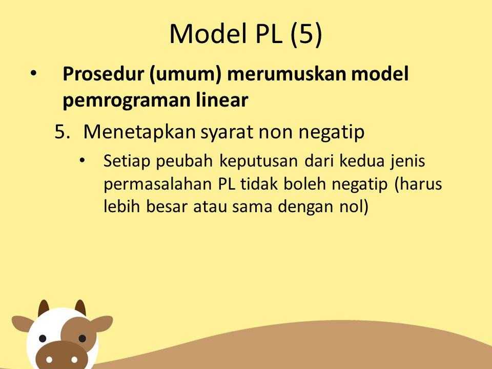 Model PL (5) Prosedur (umum) merumuskan model pemrograman linear 5.Menetapkan syarat non negatip Setiap peubah keputusan dari kedua jenis permasalahan