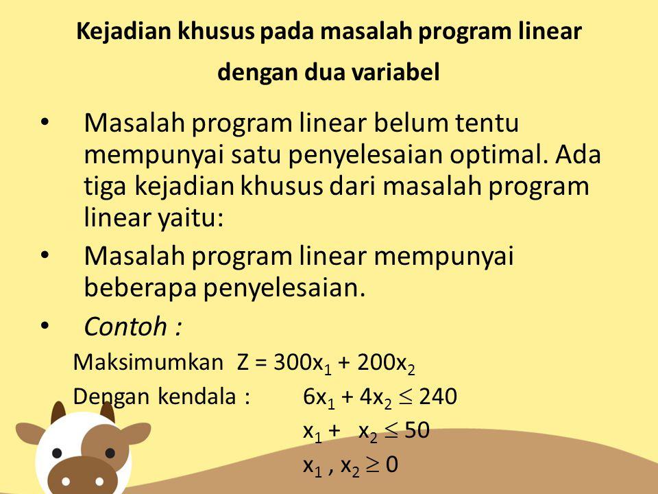 Kejadian khusus pada masalah program linear dengan dua variabel Masalah program linear belum tentu mempunyai satu penyelesaian optimal. Ada tiga kejad