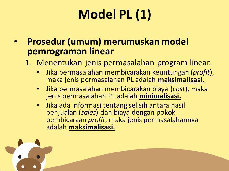 Model PL (1) Prosedur (umum) merumuskan model pemrograman linear 1.Menentukan jenis permasalahan program linear. Jika permasalahan membicarakan keuntu