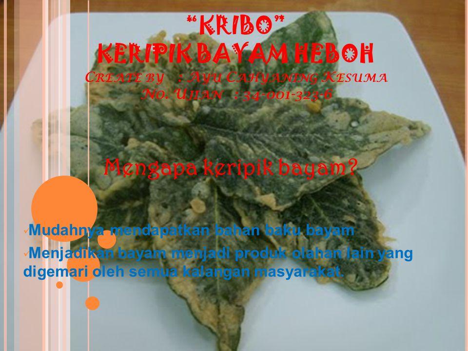 KRIBO KERIPIK BAYAM HEBOH C REATE BY : A YU C AHYANING K ESUMA N O.