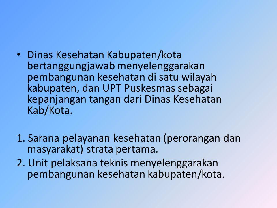 Dinas Kesehatan Kabupaten/kota bertanggungjawab menyelenggarakan pembangunan kesehatan di satu wilayah kabupaten, dan UPT Puskesmas sebagai kepanjanga