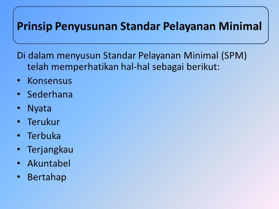 Prinsip Penyusunan Standar Pelayanan Minimal Di dalam menyusun Standar Pelayanan Minimal (SPM) telah memperhatikan hal-hal sebagai berikut: Konsensus