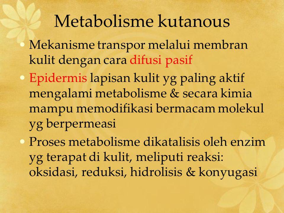 Metabolisme kutanous Metabolisme : –Steroid hidrokortison dikonversi mjd kortison oleh hidroksisteroid dehidrogenase –Oestradiol dioksidasi jd oeston –Gugus karbonil dan bbrp steroid direduksi mjd alkohol sekunder –Hidrokortison, testosteron, progesteron potensial utk ketoreduktase kutaneus