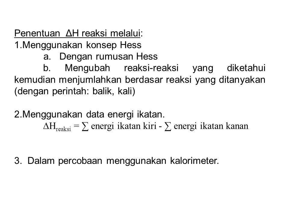 Penentuan ΔH reaksi melalui: 1.Menggunakan konsep Hess a.