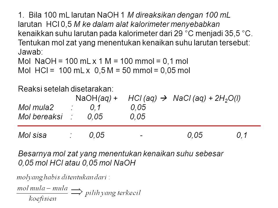 1. Bila 100 mL larutan NaOH 1 M direaksikan dengan 100 mL larutan HCl 0,5 M ke dalam alat kalorimeter menyebabkan kenaikkan suhu larutan pada kalorime