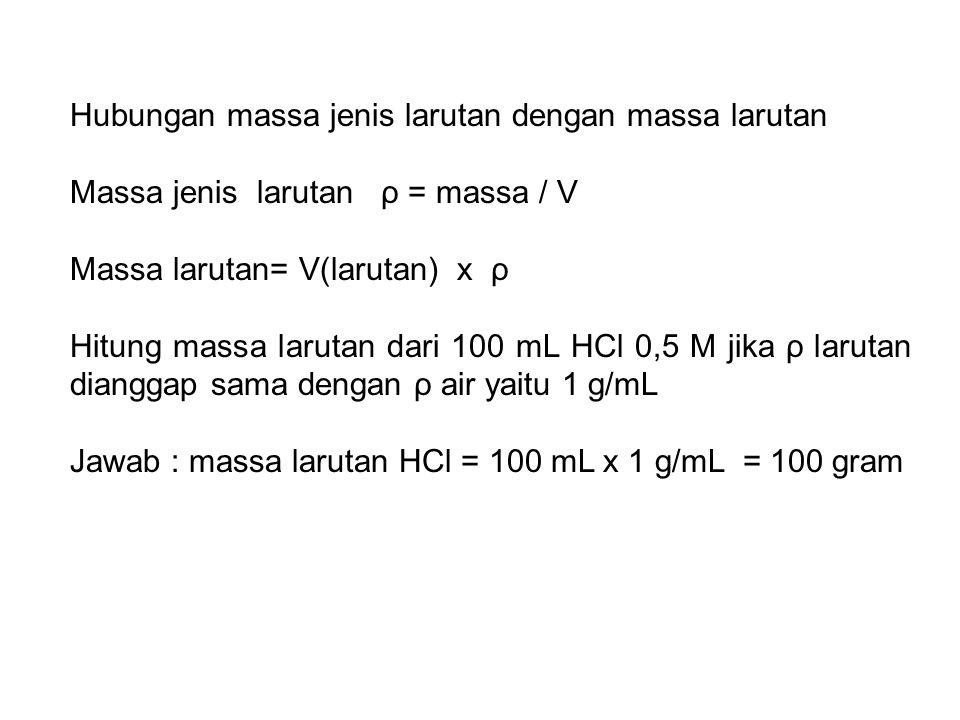 Hubungan massa jenis larutan dengan massa larutan Massa jenis larutan ρ = massa / V Massa larutan= V(larutan) x ρ Hitung massa larutan dari 100 mL HCl 0,5 M jika ρ larutan dianggap sama dengan ρ air yaitu 1 g/mL Jawab : massa larutan HCl = 100 mL x 1 g/mL = 100 gram
