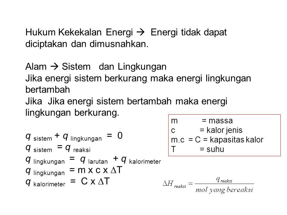 Hukum Kekekalan Energi  Energi tidak dapat diciptakan dan dimusnahkan.
