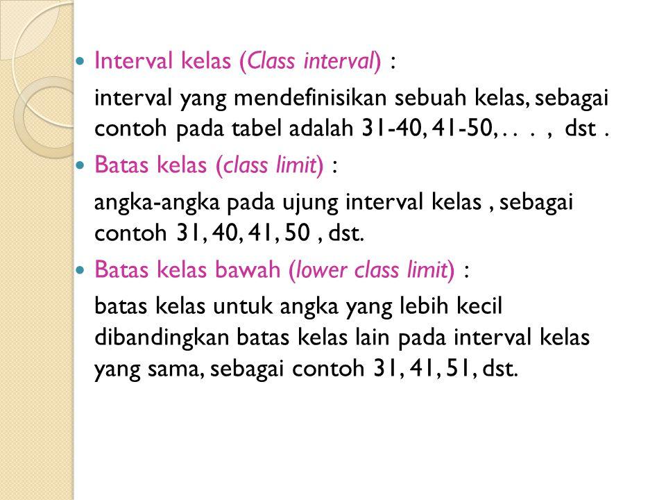 Interval kelas (Class interval) : interval yang mendefinisikan sebuah kelas, sebagai contoh pada tabel adalah 31-40, 41-50,..., dst. Batas kelas (clas