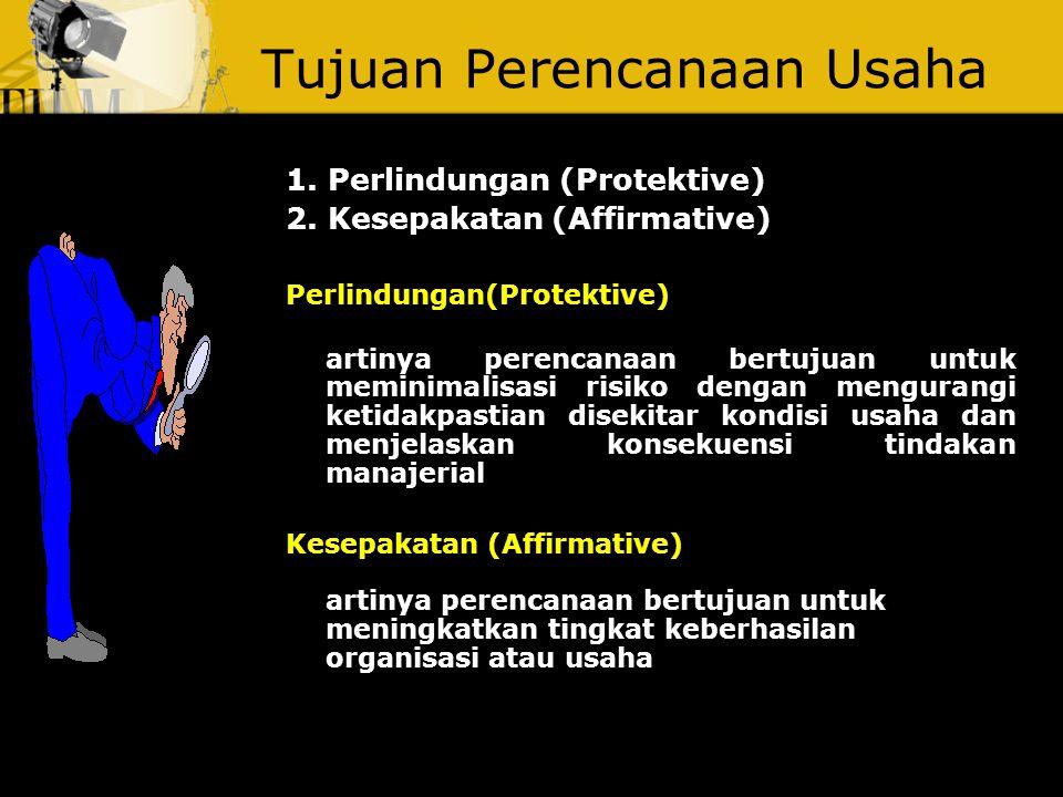 Tujuan Perencanaan Usaha 1.Perlindungan (Protektive) 2.