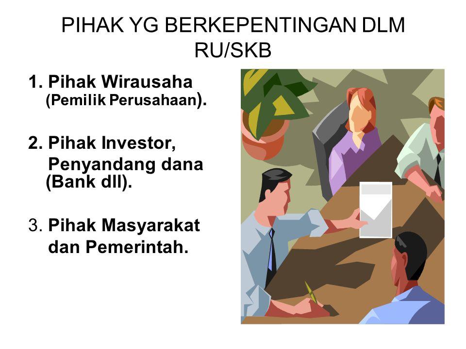 PIHAK YG BERKEPENTINGAN DLM RU/SKB 1.Pihak Wirausaha (Pemilik Perusahaan ).