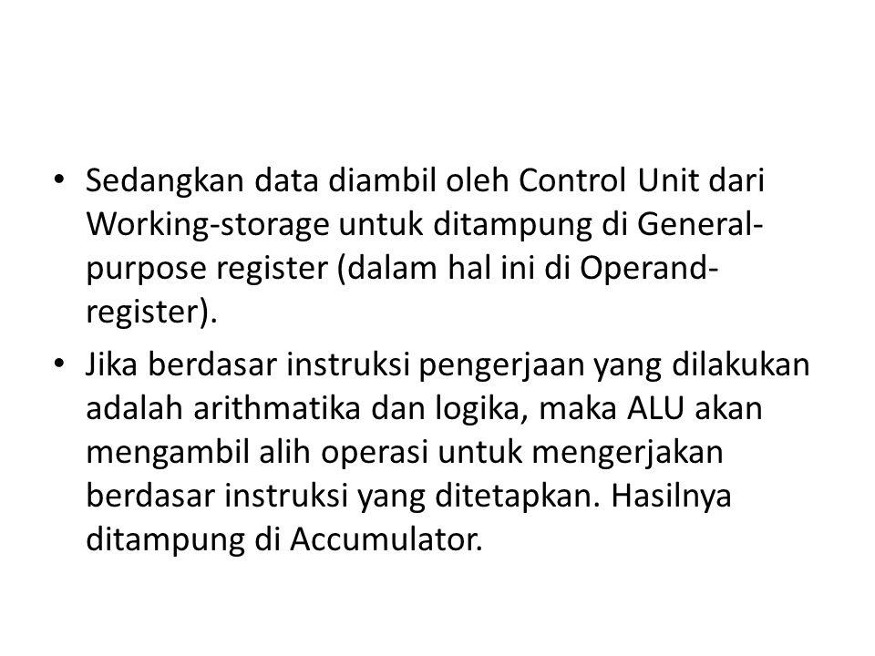 Sedangkan data diambil oleh Control Unit dari Working-storage untuk ditampung di General- purpose register (dalam hal ini di Operand- register). Jika