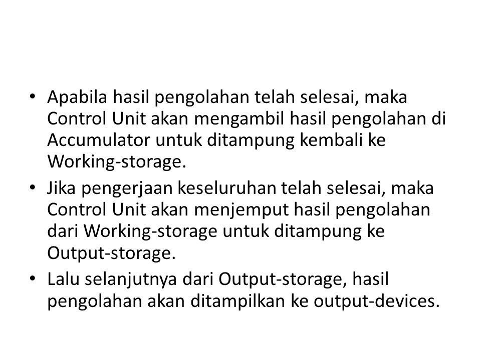 Apabila hasil pengolahan telah selesai, maka Control Unit akan mengambil hasil pengolahan di Accumulator untuk ditampung kembali ke Working-storage. J
