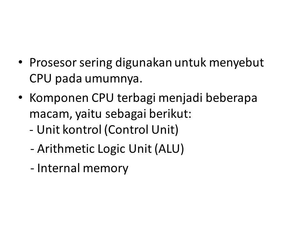 Prosesor sering digunakan untuk menyebut CPU pada umumnya. Komponen CPU terbagi menjadi beberapa macam, yaitu sebagai berikut: - Unit kontrol (Control