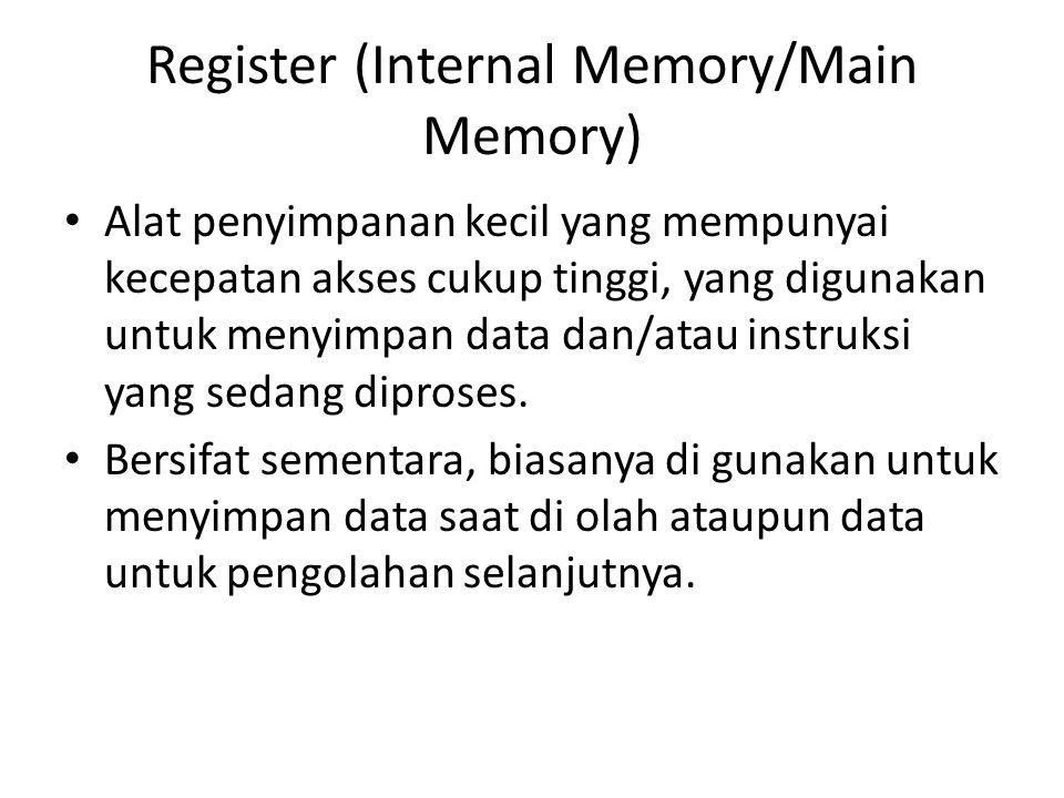 Register (Internal Memory/Main Memory) Alat penyimpanan kecil yang mempunyai kecepatan akses cukup tinggi, yang digunakan untuk menyimpan data dan/ata