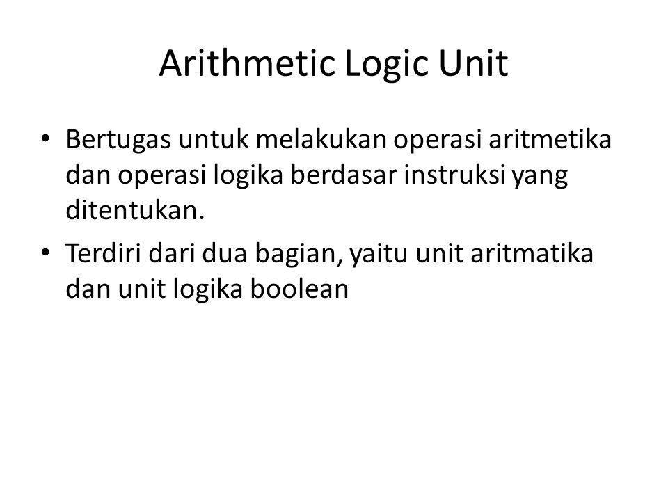 Arithmetic Logic Unit Bertugas untuk melakukan operasi aritmetika dan operasi logika berdasar instruksi yang ditentukan. Terdiri dari dua bagian, yait