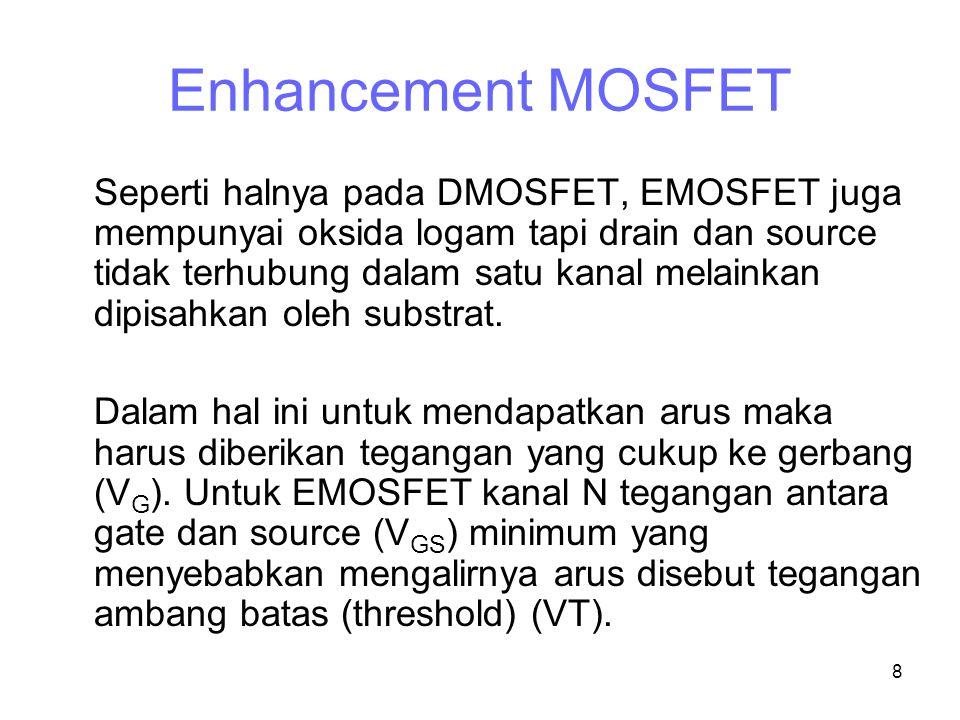 8 Enhancement MOSFET Seperti halnya pada DMOSFET, EMOSFET juga mempunyai oksida logam tapi drain dan source tidak terhubung dalam satu kanal melainkan dipisahkan oleh substrat.
