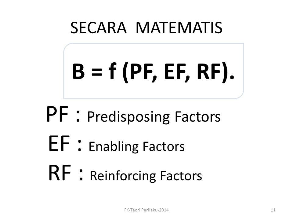SECARA MATEMATIS B = f (PF, EF, RF). PF PF : Predisposing Factors EF : Enabling Factors RF : Reinforcing Factors FK-Teori Perilaku-201411