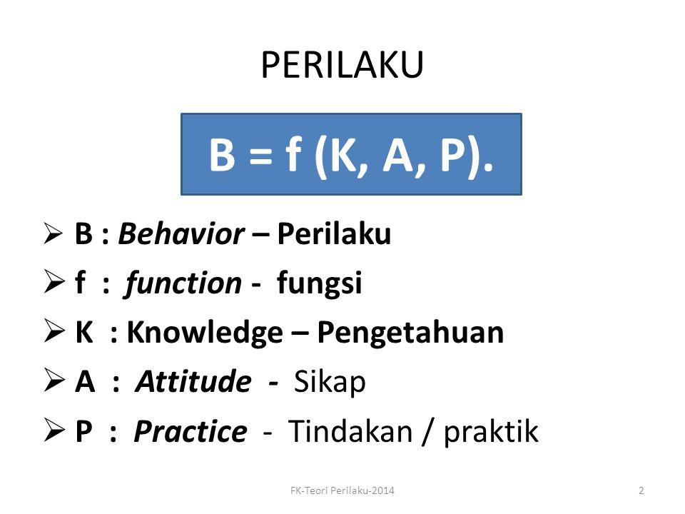 MERUBAH PERILAKU BERARTI, merubah – Knowledge / PENGETAHUAN – ATTITUDE / SIKAP : 3 elemen: Koqnitif Afektif Psikomotor / konasi – PRACTICE / Tindakan - praktek FK-Teori Perilaku-20143