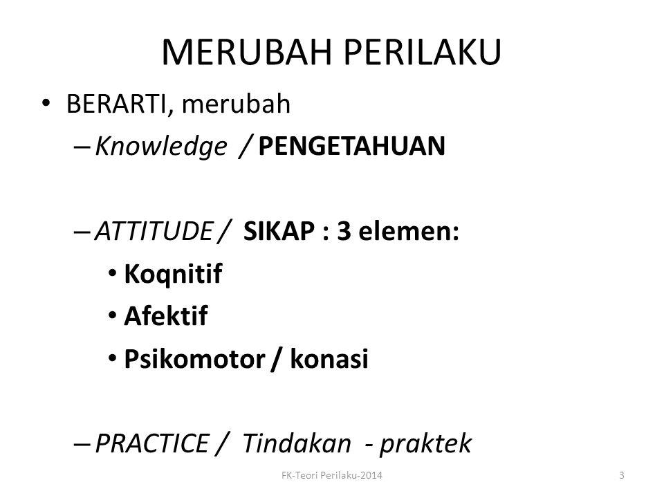 MERUBAH PERILAKU BERARTI, merubah – Knowledge / PENGETAHUAN – ATTITUDE / SIKAP : 3 elemen: Koqnitif Afektif Psikomotor / konasi – PRACTICE / Tindakan
