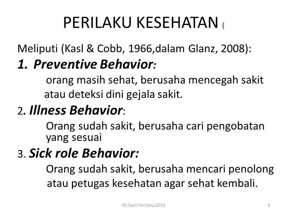 PERILAKU KESEHATAN ( Meliputi (Kasl & Cobb, 1966,dalam Glanz, 2008): 1.Preventive Behavior : orang masih sehat, berusaha mencegah sakit atau deteksi d