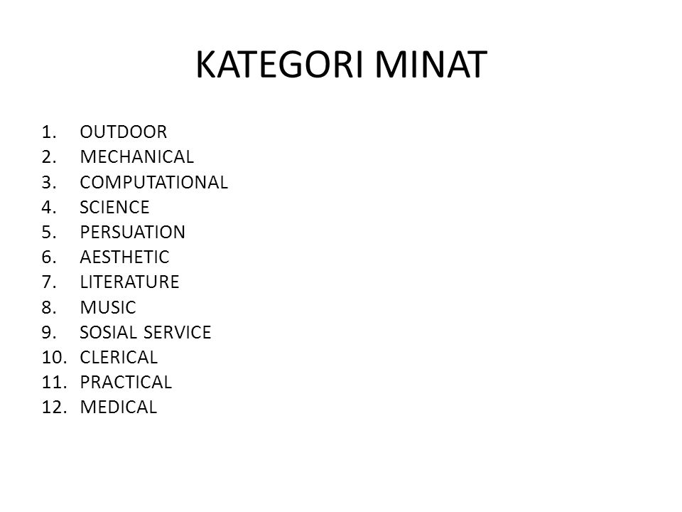 KATEGORI MINAT 1.OUTDOOR 2.MECHANICAL 3.COMPUTATIONAL 4.SCIENCE 5.PERSUATION 6.AESTHETIC 7.LITERATURE 8.MUSIC 9.SOSIAL SERVICE 10.CLERICAL 11.PRACTICA