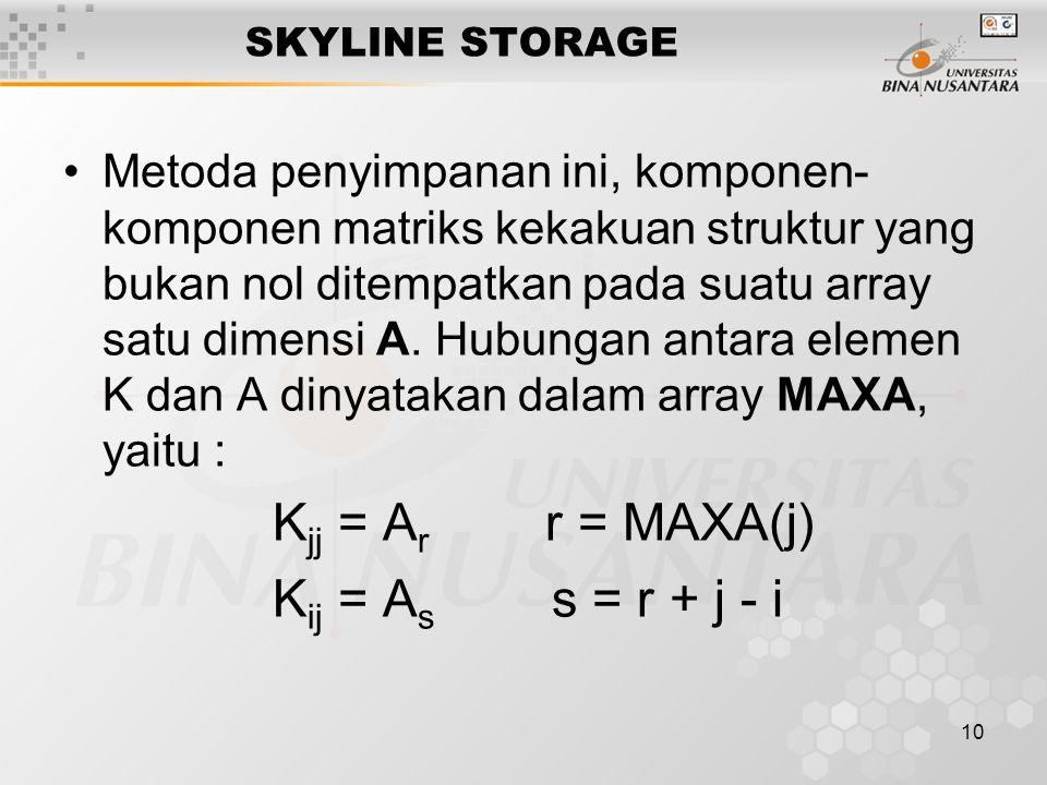 10 SKYLINE STORAGE Metoda penyimpanan ini, komponen- komponen matriks kekakuan struktur yang bukan nol ditempatkan pada suatu array satu dimensi A.