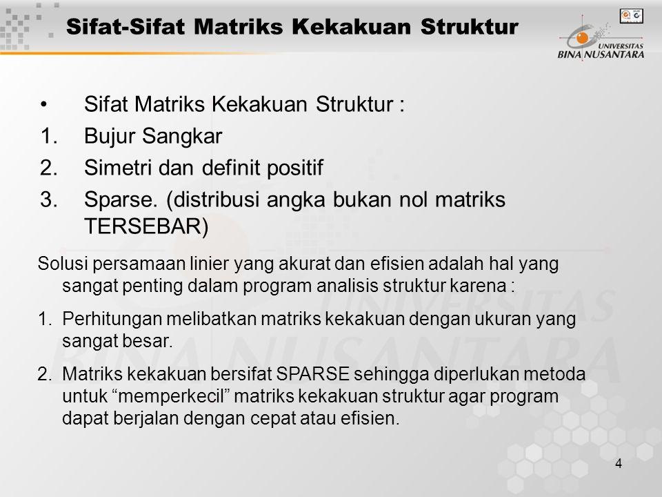 4 Sifat-Sifat Matriks Kekakuan Struktur Sifat Matriks Kekakuan Struktur : 1.Bujur Sangkar 2.Simetri dan definit positif 3.Sparse.