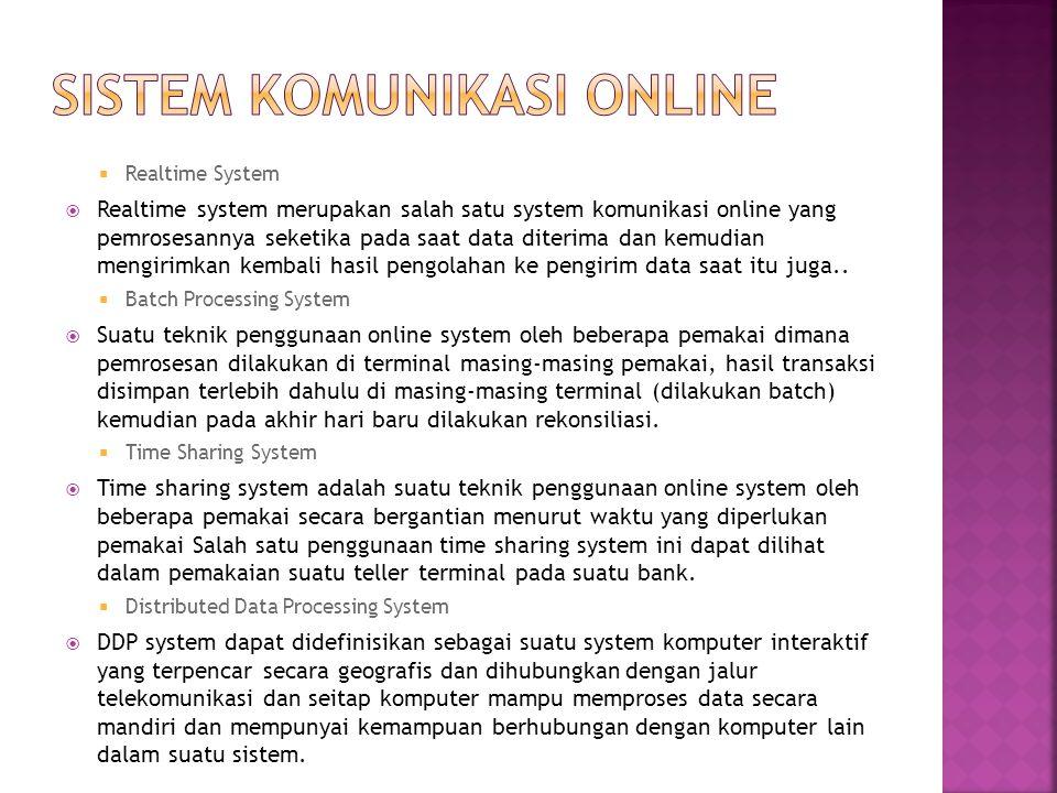  Realtime System  Realtime system merupakan salah satu system komunikasi online yang pemrosesannya seketika pada saat data diterima dan kemudian men