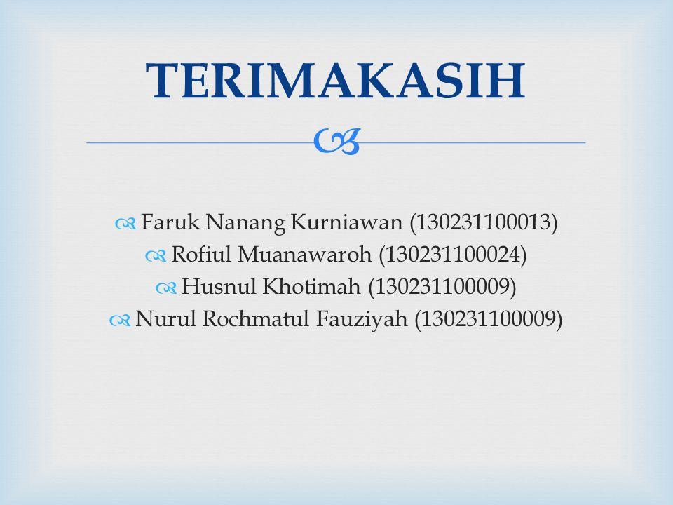   Faruk Nanang Kurniawan (130231100013)  Rofiul Muanawaroh (130231100024)  Husnul Khotimah (130231100009)  Nurul Rochmatul Fauziyah (130231100009