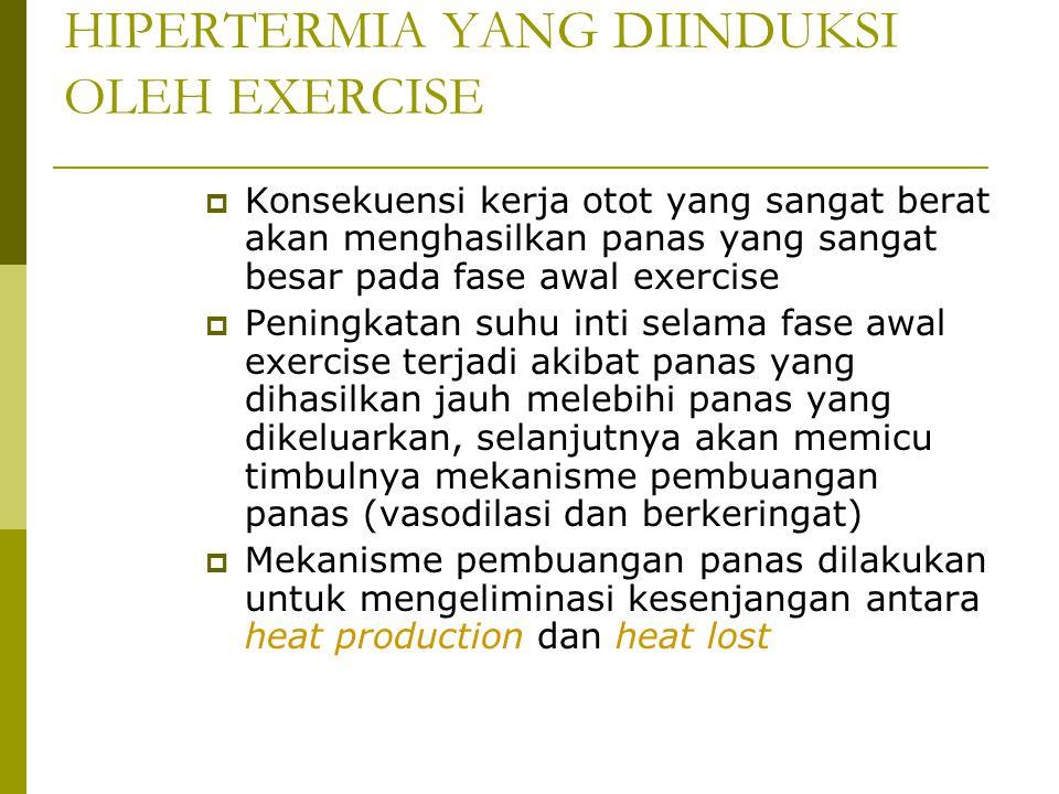 HIPERTERMIA YANG DIINDUKSI OLEH EXERCISE  Konsekuensi kerja otot yang sangat berat akan menghasilkan panas yang sangat besar pada fase awal exercise