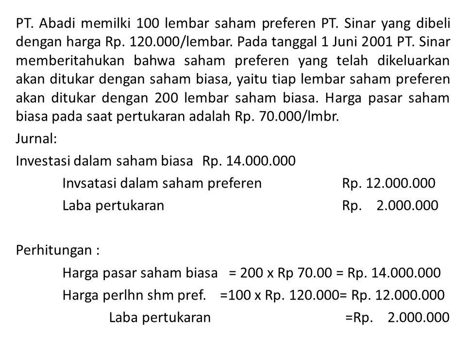 PT.Abadi memilki 100 lembar saham preferen PT. Sinar yang dibeli dengan harga Rp.